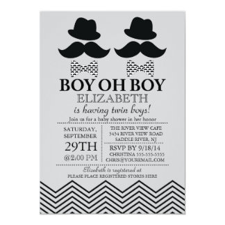 "Modern Boy Little Man Mustache TWINS Baby Shower 5"" X 7"" Invitation Card"