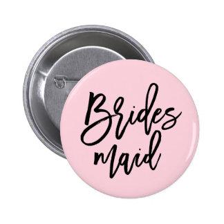 Modern Bridal Party Bridesmaid 2 Inch Round Button