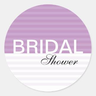 Modern Bridal Shower Stickers::Purple Stripes Round Sticker