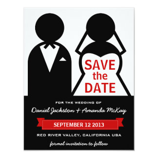 "Modern Bride and Groom Icon Save the Date 4.25"" X 5.5"" Invitation Card"