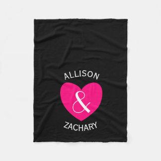 Modern Bride and Groom Pink Heart Z03 Fleece Blanket