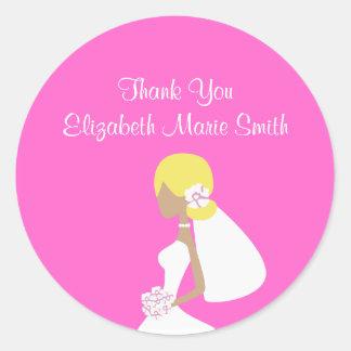 Modern Bride Blonde Silhouette Sticker-Pink Round Sticker