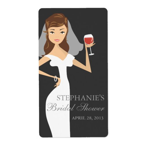 Modern Bride Bridal Shower Wine Theme Label