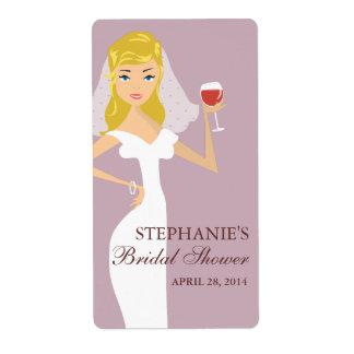 Modern Bride Bridal Shower Wine Theme Label