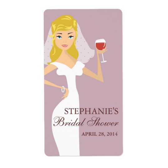 Modern Bride Bridal Shower Wine Theme Label Shipping Label