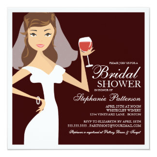 Modern Bride Wine Theme Bridal Shower Invitation