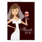 Modern Bride Wine Theme Thank You Card   Brown