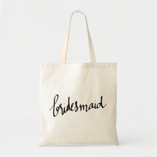 Modern Bridesmaid Script Typography Tote Bag