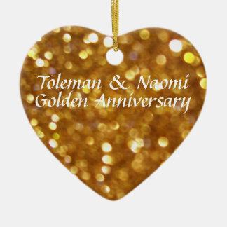 Modern Bright 50th Golden Wedding Anniversary Ceramic Heart Ornament