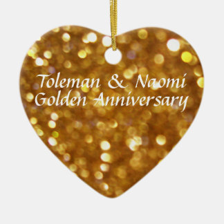 Modern Bright 50th Golden Wedding Anniversary Double-Sided Heart Ceramic Christmas Ornament