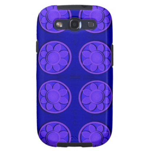 Modern bright blue flowers galaxy SIII covers