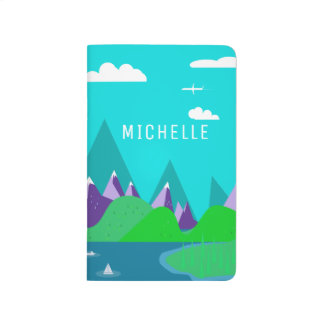 Modern Bright Blue Landscape Customized Name Journal