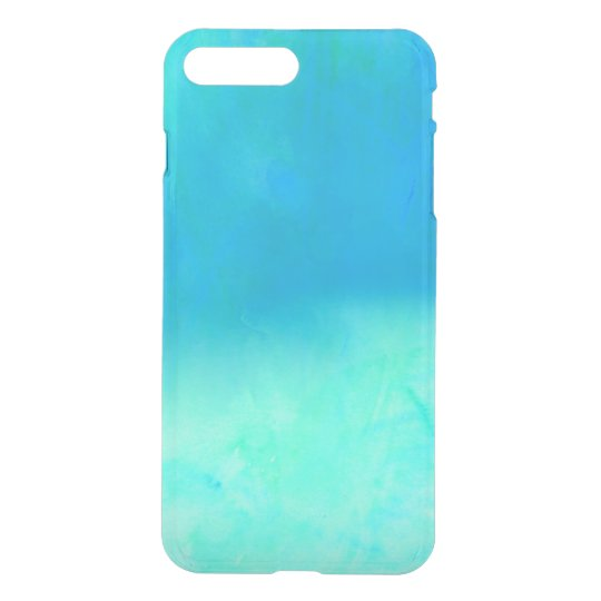 Modern bright blue turquoise ombre watercolor iPhone 7 plus case