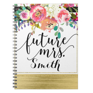 Modern Bright Bold Floral Watercolor Future Mrs. Spiral Notebook