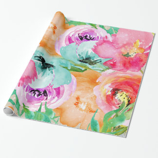 Modern Bright Colorful Floral Watercolor Chic Wrapping Paper
