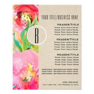 Modern Bright Colorful Floral Watercolor Flyer