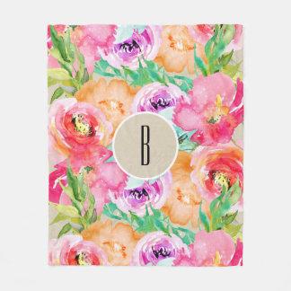 Modern Bright Colorful Floral Watercolor Kraft Fleece Blanket
