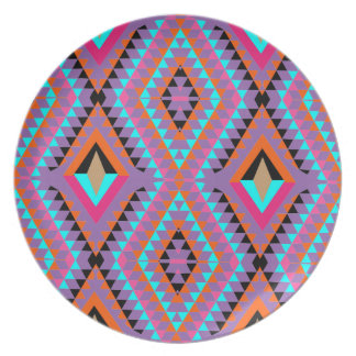 Modern Bright Colorful Geometric Patterned Plate