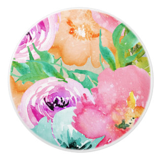 Modern Bright Colorful Spring Floral Watercolor Ceramic Knob