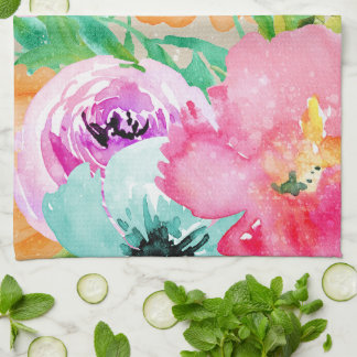 Modern Bright Colorful Spring Floral Watercolor Kitchen Towel