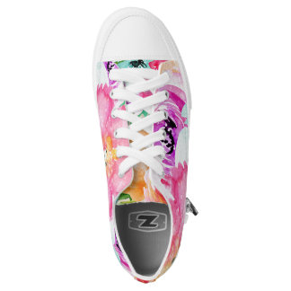 Modern Bright Colorful Spring Floral Watercolor Low-Top Sneakers