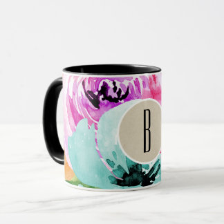 Modern Bright Colorful Spring Floral Watercolor Mug
