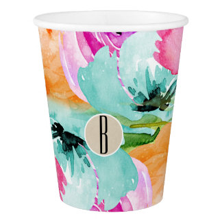 Modern Bright Colorful Spring Floral Watercolor Paper Cup