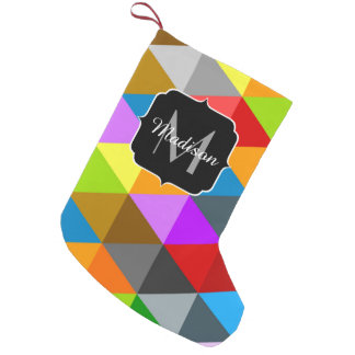 Modern bright colorful triangles pattern Monogram Small Christmas Stocking