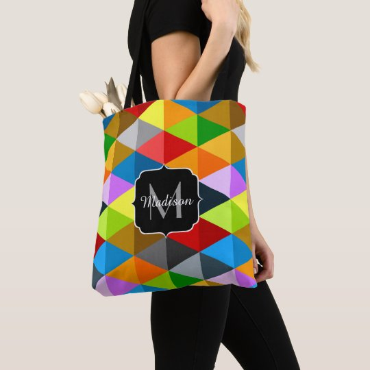 Modern bright colourful triangles pattern Monogram Tote Bag