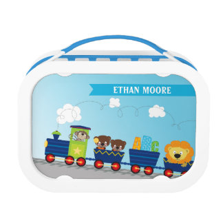 MODERN bright cute, colorful animal train Lunchbox