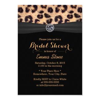"Modern Bright Diamond & Leopard Bridal Shower 5"" X 7"" Invitation Card"