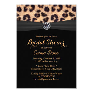 Modern Bright Diamond & Leopard Bridal Shower Card