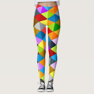 Modern bright funky colorful triangles pattern leggings