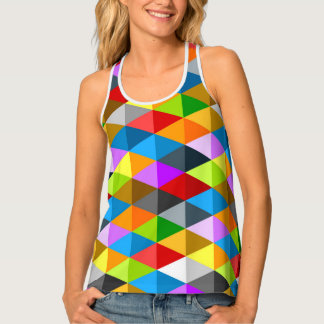 Modern bright funky colorful triangles pattern tank top