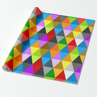 Modern bright funky colorful triangles pattern wrapping paper
