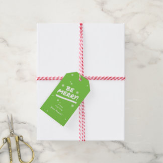 Modern Bright Green Be Merry! Snowflakes Christmas Gift Tags