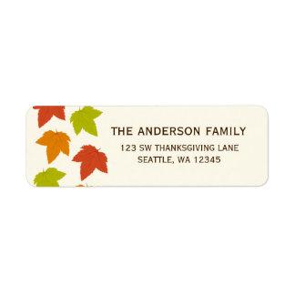 Modern Bright Leaves Thanksgiving Address Label