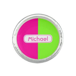 Modern Bright Neon Pink Green Monogram Ring