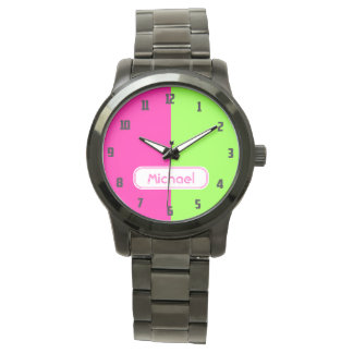 Modern Bright Neon Pink Green Monogram Watch