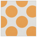 Modern Bright Orange and White Large Polka Dots Fabric