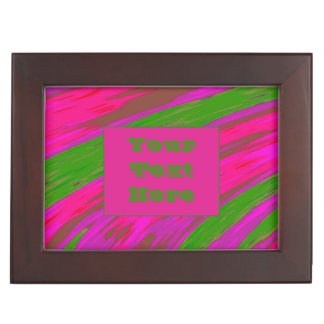 Modern Bright Pink Green Color Swish Keepsake Box