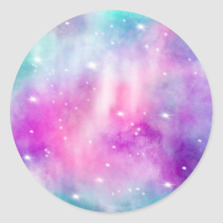 Modern bright pint teal watercolor pastel nebula classic round sticker