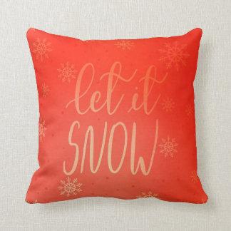 Modern Bright Red Let It Snow Handwritten Chic Throw Pillow
