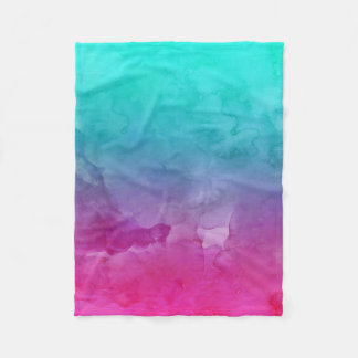 Modern bright turquoise pink watercolor ombre fleece blanket