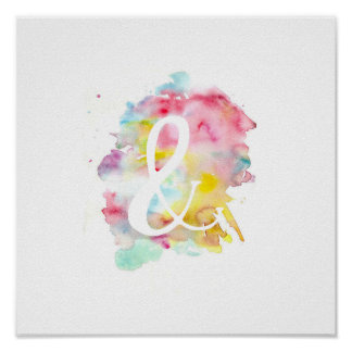 Modern bright watercolor white ampersand symbol poster