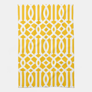 Modern Bright Yellow and White Trellis Pattern Hand Towel