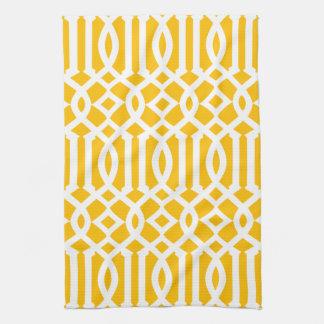 Modern Bright Yellow and White Trellis Pattern Kitchen Towel