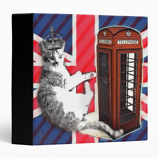 modern british flag  union jack london cat fashion binders