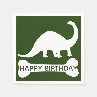 Modern Brontosaurus Dino Happy Birthday Disposable Napkin