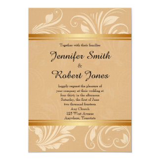 Modern Bronze Floral Wedding Invitation